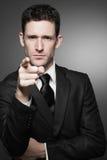 Homme d'affaires dans la chemise blanche et le procès noir. Photo stock