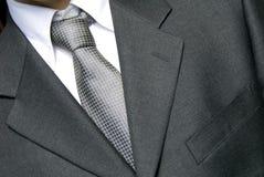 Homme d'affaires dans la relation étroite argentée Image stock