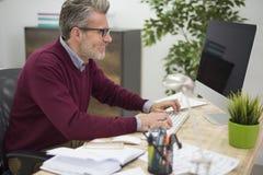 Homme d'affaires dans le bureau Images libres de droits