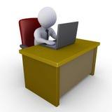 Homme d'affaires dans le bureau avec l'ordinateur portatif Photo stock