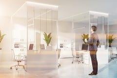 Homme d'affaires dans le bureau blanc moderne avec des bibliothèques image libre de droits