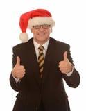 Homme d'affaires dans le chapeau de Santa Photos libres de droits