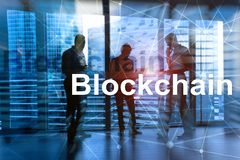 Homme d'affaires dans le concept de cryptocurrency de blockchain Media mélangé illustration de vecteur