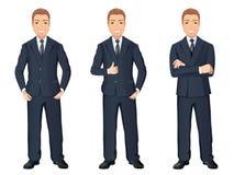 Homme d'affaires dans le costume bleu-foncé dans différentes poses Homme bel sûr, intégral, code vestimentaire Photo stock