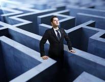 Homme d'affaires dans le labyrinthe Image libre de droits