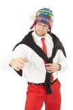 Homme d'affaires dans le pantalon rouge et la chemise blanche. Photos libres de droits