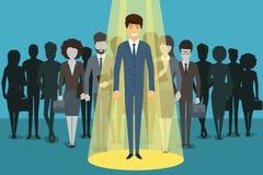 Homme d'affaires dans le projecteur Ressource humaine illustration stock
