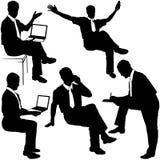 Homme d'affaires dans le travail - silhouettes Photo libre de droits