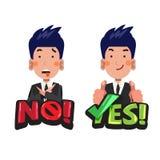 Homme d'affaires dans les actions avec le ` aucun ` et de ` ` oui typographique acceptez ou évitez le concept - vecteur Illustration Libre de Droits
