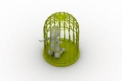 Homme d'affaires dans une cage à oiseaux 3d Photographie stock libre de droits