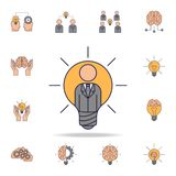 homme d'affaires dans une icône de couleur de fild d'ampoule Ensemble détaillé d'icônes d'idée de couleur Conception graphique de illustration stock