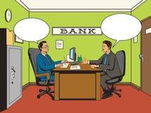 Homme d'affaires dans vecteur de style d'art de bruit de banque le rétro illustration de vecteur