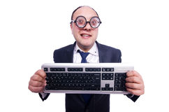 Homme d'affaires de ballot avec le clavier d'ordinateur Images libres de droits