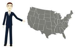 Homme d'affaires de bande dessinée avec la carte des USA Photographie stock