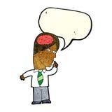 homme d'affaires de bande dessinée avec le cerveau énorme avec la bulle de la parole illustration stock