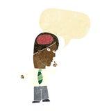 homme d'affaires de bande dessinée avec le cerveau énorme avec la bulle de la parole illustration de vecteur