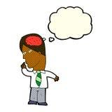 homme d'affaires de bande dessinée avec le cerveau énorme avec la bulle de pensée illustration stock