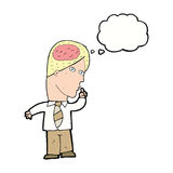 homme d'affaires de bande dessinée avec le cerveau énorme avec la bulle de pensée illustration libre de droits
