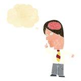 homme d'affaires de bande dessinée avec le cerveau énorme avec la bulle de pensée illustration de vecteur