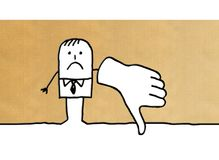 Homme d'affaires de bande dessinée avec le pouce vers le bas illustration stock
