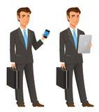 Homme d'affaires de bande dessinée dans le costume gris Image libre de droits