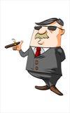 Homme d'affaires de bande dessinée fumant un cigare Image stock