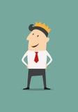 Homme d'affaires de bande dessinée utilisant une couronne Image libre de droits