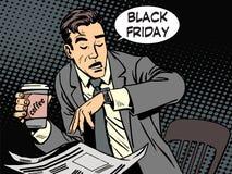 Homme d'affaires de Black Friday en café Photographie stock