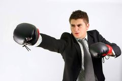Homme d'affaires de boxe Photos libres de droits