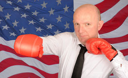 homme d'affaires de boxe Photo stock