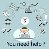 Homme d'affaires de concept d'affaires avec une question Illustration de vecteur Images libres de droits