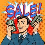 Homme d'affaires de concept d'affaires d'annonce de vente illustration libre de droits