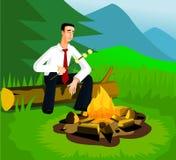 Homme d'affaires de détente près de feu de camp Illustration Stock