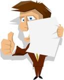 Homme d'affaires de dessin animé retenant le papier blanc Photos libres de droits
