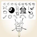 Homme d'affaires de griffonnage avec des pensées d'icône Image libre de droits