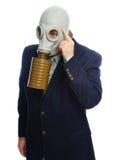 Homme d'affaires de masque de gaz photographie stock