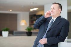 Homme d'affaires de sourire parlant au téléphone Photo libre de droits