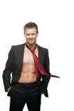 Homme d'affaires de sourire sexy dans la relation étroite rouge Images libres de droits