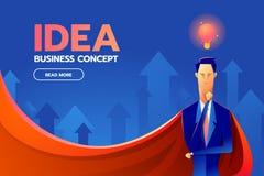 Homme d'affaires de super héros avec des icônes de concept de succès et de vision, conception plate à la mode illustration libre de droits