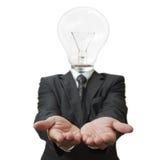 Homme d'affaires de tête d'ampoule image libre de droits