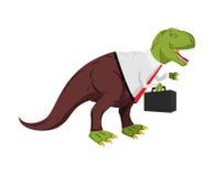 Homme d'affaires de tyrannosaure Dino Boss Chef avec le cas Images stock