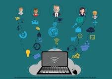 Homme d'affaires de vecteur utilisant la technologie moderne à communiquer avec la tâche commerciale de carnet, admission des fon Image libre de droits