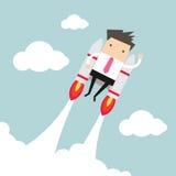 Homme d'affaires de vol avec le jetpack Photo libre de droits