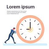 Homme d'affaires Deadline Time Concept d'horloge de poussée d'homme d'affaires Illustration de Vecteur