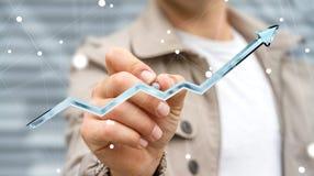 Homme d'affaires dessinant la flèche bleue numérique avec un rendu du stylo 3D Photos stock