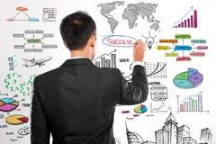 Homme d'affaires dessinant le concept moderne d'affaires Image libre de droits