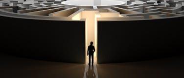 Homme d'affaires devant un labyrinthe illustration stock