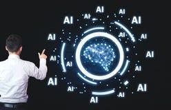 Homme d'affaires dirigeant l'esprit humain avec des mots d'AI Concept d'intelligence artificielle photo libre de droits