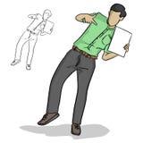 Homme d'affaires dirigeant la page blanche avec un vecteur plus étrange IL de geste Illustration de Vecteur
