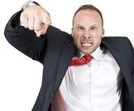 Homme d'affaires dirigeant le doigt Photographie stock